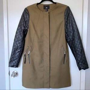 H&M Faux Leather Sleeve Biker Jacket